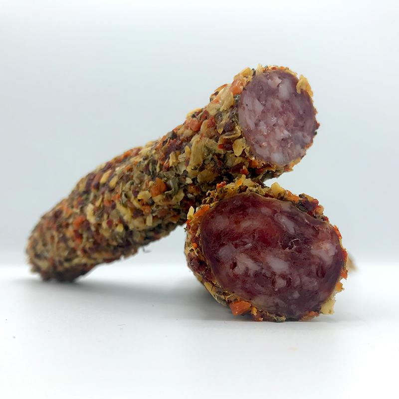 Fuet Mediterreneo spaanse droge worst met een mantel van gedroogde mediterrane kruiden online bestellen